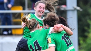 Peamount United players celebrate with Karen Duggan (No 16) following her goal