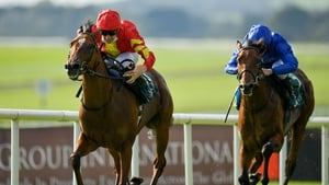 Declan McDonogh pushes Thunder Moon clear to win the National Stakes