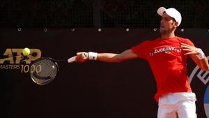 Novak Djokovic practices in Rome this morning