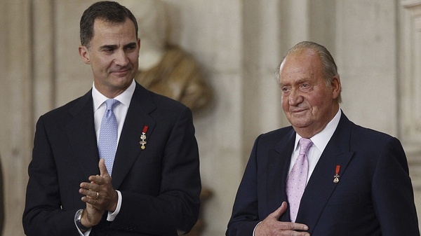 The then Prince Felipe of Spain and his father King Juan Carlos at the abdication ceremony at the Royal Palace, Madrid June 18, 2014