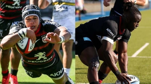 Cheslin Kolbe (l) and Rotimi Segun in action for Toulouse and Saracens respectively at the weekend