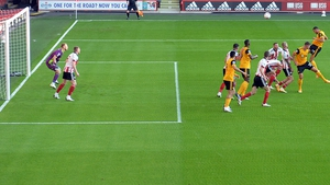 Romain Saiss scores Wolves second goal with a powerful header