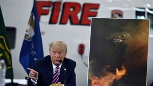 US President Donald Trump met senior officials dealing with the fires in California