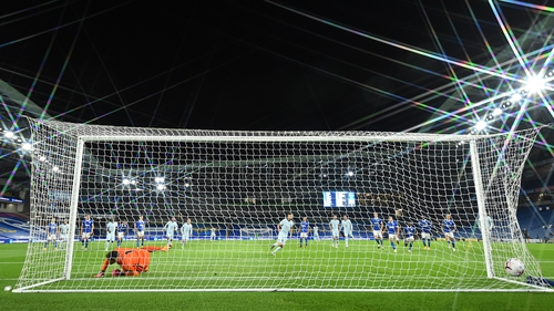 Jorginho opens the scoring at the Amex from the penalty spot