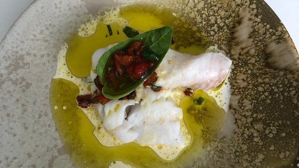 Rory's Salted Hake with Roast Pepper and Basil Oil