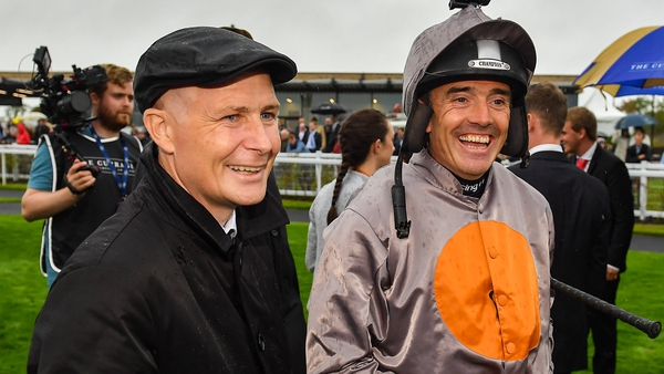 Pat Smullen (L) and Ruby Walsh before the Pat Smullen Champions Race For Cancer Trials Ireland at the Curragh in 2019