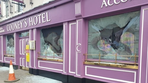 Damaged windows at Cooney's Hotel in Ballymahon, Co Longford