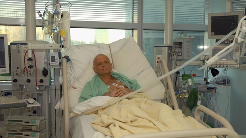 In November 2006, Alexander Litvinenko is pictured at the Intensive Care Unit of University College Hospital in London, England. He died three days after this picture was taken. Photo Credit: Natasja Weitsz & Getty Images.