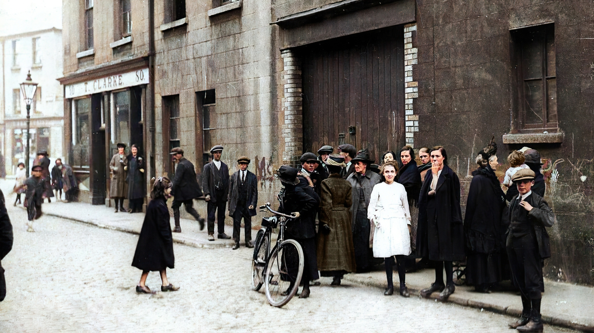 The site of Kevin Barry's arrest. Original image: National Library of Ireland, colourised by Matt Loughrey