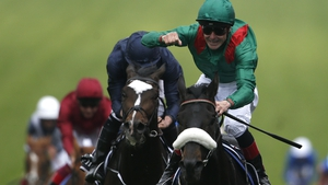 An elated Pat Smullen celebrates partnering Harzand to Derby glory at Epsom in 2016