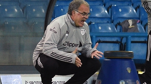 Frustration is etched on the face of Marcelo Bielsa on a difficult night for the Leeds boss at Elland Road
