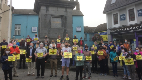 Up to 100 people took part in a protest through the town last week calling for an end to pedestrianisation