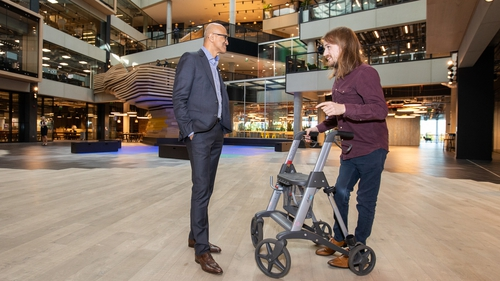 Satya Nadella, the CEO of Microsoft with Matthew McCann, CEO of Access Earth