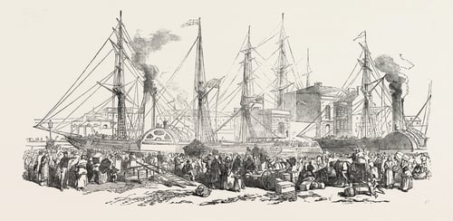 Departure Of The Nimrod And Athlone Steamers from Ireland, with emigrants on board, for Liverpool, UK, 1851. Source: Universal History Archive/Universal Images Group via Getty Images)