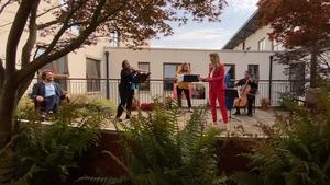 (L-R) Rory Musgrave, baritone; Lynda O'Connor, violin; Carla Vedres, viola; Sandra Oman, soprano; Gerald Peregrine, cello