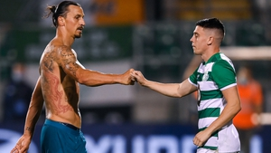 Zlatan Ibrahimovic and Gary O'Neill exchange pleasantries at the end of the game