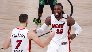 Jae Crowder and Goran Dragic of the Miami Heat react after their Game Two win over Boston Celtics