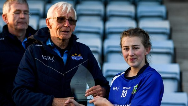 Aileen Wall receiving the Player of the Match award after Ballymacarbry's win over Mourneabbey in last year's Munster final