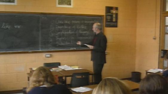 Jesuit priest teaching class in Crescent College, Limerick (1990)