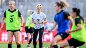 Ireland head coach Vera Pauw looks on as her side go through a training session at the stadium in Essen