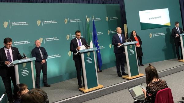 Micheál Martin, Leo Varadkar, Eamon Ryan and Ronan Glynn address the media