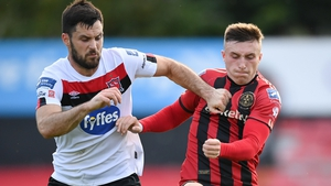 Danny Grant of Bohemians (R) battles with Dundalk's Patrick Hoban during their league clash in August