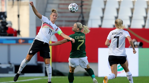 Alexandra Popp of Germany and Diane Caldwell battle for possession