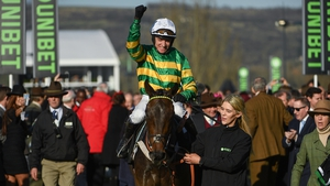 Barry Geraghty celebrates after winning the 2018 Champion Hurdle with Buveur D'air