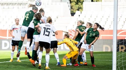 Louise Quinn rises for a header in Essen