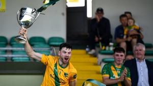 Victorious Kilmoyley captain John B O'Halloran lifts the NeilusFlynn Cup