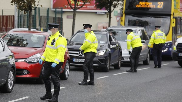 A Garda check point in Dublin on the first day of new Level 3 Covid-19 restrictions in the capital. Photo: Rollingnews.ie