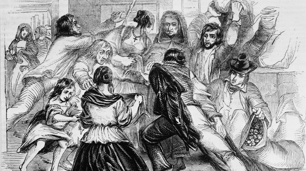 Food rioting in Galway in 1842, one of the many riots that broke out in the 1840s