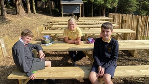 Pupils at St Patrick's National School in Co Wicklow enjoying their new outdoor classroom