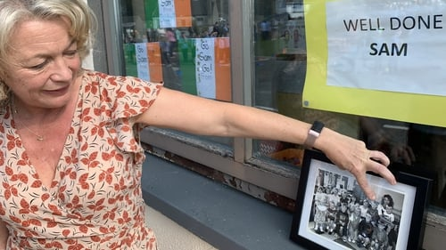 Crehana National School principal Eithne Sheehan points out a photo of Sam Bennett in junior infants