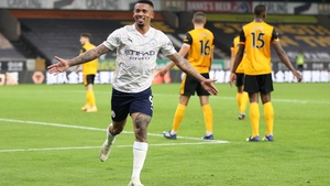 Gabriel Jesus celebrates after scoring Manchester City's third goal