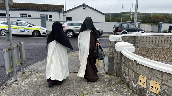 Mother Irene Gibson, a Carmelite nun of the Holy Face of Jesus (L) and her colleague, Sr Anne Marie of the Sacred Heart, leaving the District Court in Skibbereen