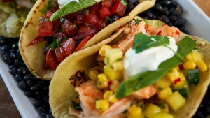 Catherine'sPrawn tacos with mango sweetcorn salsa & red pepper and black bean tacos with Pico de Gallo.