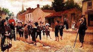 Military Maneuvers by Richard Thomas Moylan: a trooper from the 4th (Royal Irish) Dragoon Guards in Leixlip, Co. Kildare and his female companion, followed by a group of children. Image courtesy of National Gallery of Ireland
