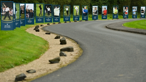 Images of previous Irish Open winners line the entrance at Galgorm in Ballymena, Co Antrim