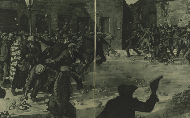 Drawing showing the violence on Marrowbone Lane in Belfast Photo: Illustrated London News, 9 October 1920