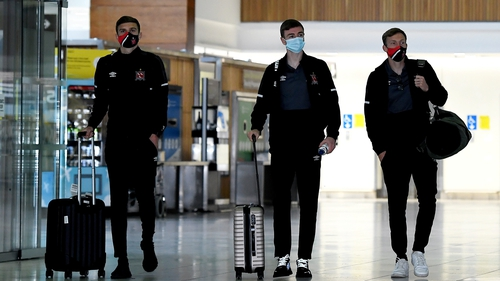 Sean Gannon, Daniel Kelly and David McMillan at Dublin Airport as Dundalk departed for Moldova on Tuesday