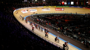Riders in action at the 2020 UCI Track Cycling World Championships at the Berlin Velodrom