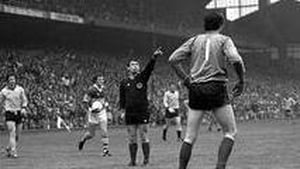 Referee Seamus Aldridge awards that controversial free in the 1978 final