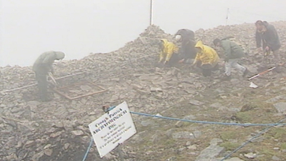 Archaeologists on Croagh Patrick, County Mayo (1995)