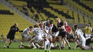 Dundalk players were jubilant after the shootout