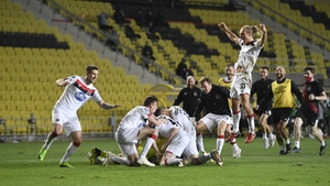 Dundalk players celebrate after the penalty shoot out