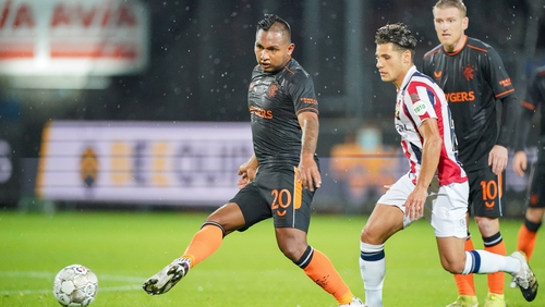 Alfredo Morelos of Rangers in action against Willem II
