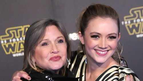 Carrie Fisher and Billie Lourd at the premiere of Star Wars: The Force Awakens in Hollywood in December 2015