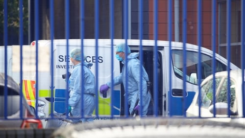 The scene at Croydon Custody Centre in south London where a police officer was shot