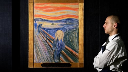 Edvard Munch's The Scream on display at Sotheby's auction house in 2012 before it was sold for $120 million. Photo:Oli Scarff/Getty Images